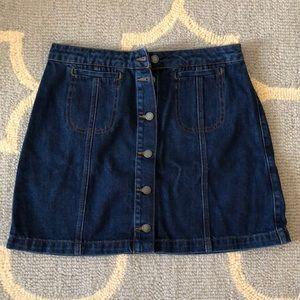NWT TOPSHOP MOTO denim button skirt size 30